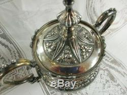 Sale 19th Century Victorian 3 Pc Gothic Influenced Silver Plated Tea Service