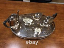 Sheffield EPNS F silver plated 6 piece vintage tea set and serving tray