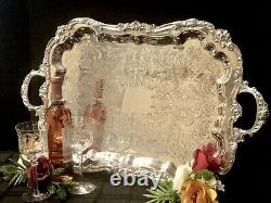 Sheridan Fluted Silver Plated Tray Serving /Tea Tray Vintage Victorian Style