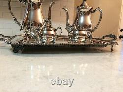 Sheridan Silver on Copper Coffee and Tea Set with Tray