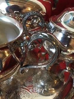 Sheridan Silverplate footed coffee tea set with sugar cream and tray