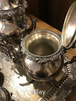 Silver On Copper 7 PC Coffee Tea Set With Tray Tilt Pot Creamer Sterling Mark