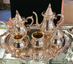 Silver Plate 5 Pc Teas Set With Tray- Wallace
