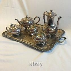 Silver Plate Tea Coffee Service Set with Tray New Beverly Manor Wilcox 6 Pieces