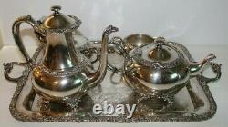 Silver Plate Tea Set Coffee Service & Tray New Beverly Manor Wilcox IS 5 Pieces