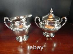 Silver Plate Tea Set Tray Coffee Tea Creamer Sugar Silver over Copper