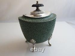 Silver Plated And Faux Shagreen Tea Caddy