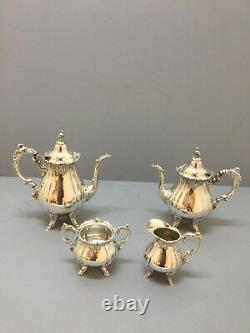 Silver Plated Baroque Pattern By Wallace Tea Set Coffee Set 4 PC