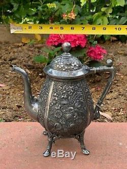 Silver Plated Reed & Barton Teapot Very Rare Victorian Floral Beautiful Tea Pot