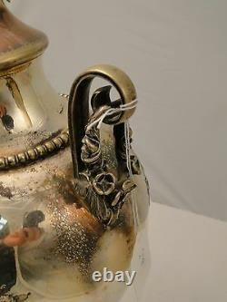Silver Plated Tea Kettle/ Samovar/ Urn England 1880 Chased Body With Tap
