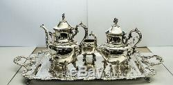 Silver on Copper BSC Birmingham Coffee & Tea Set Grapevine Pattern 6 Pieces