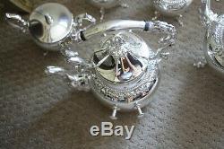 Silver on Copper BSC Birmingham Coffee & Tea Set Grapevine Pattern 7 Pieces