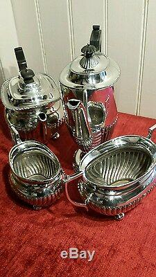 Silver plated 4 piece Edwardian /Victorian half fluted tea and coffee service