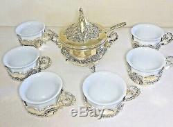 Silver plated porcelain espresso coffee tea cups & sugar bowl set