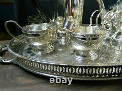 Silver plated tea set on oval tray including 7 items