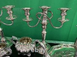 Silver plated tea set with tray and Silverware