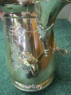 Simpson Hall Miller 1880s 6 Figural Treble Plate TILTING Tea Pot/Pitcher w Base