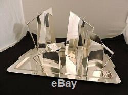 Spain Art Deco Silver Plated Tea Coffee Set Geometric Modernist or Cubist
