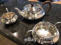 Sterling silver tea service teapot, sugar bowl, milk jug 1920s