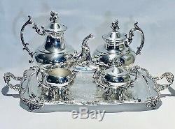 Stunning Antique Set Of Five Tea Set Meriden Silver Plated On Copper