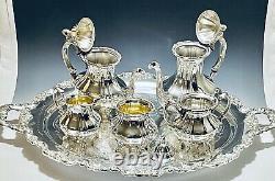 Stunning Antique Set of 6 Victorian Lancaster Rose Poole Tea Set Silver Plated