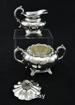 Stunning Heavy 4 Piece Viners Melon Style Tea Set Sugar Creamer Silver Plated