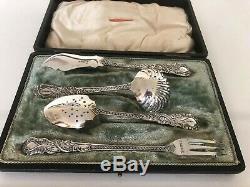 Stunning Victorian 4 Piece Cased Tea Cutlery Set By Robert Mosley Sheffield