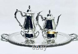 Stunning Vintage Set of Five Oneida English Tea Set Silver Plated