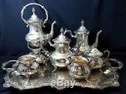 Towle 1960s 6 Pc Coffee Tea Service w Samovar Heater Waste Pot TWS305 witho TRAY