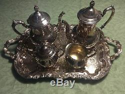 Towle SilverPlate Tea Coffee Creamer Sugar Service Set 5 Pieces Grand Duchess