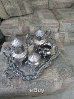 Towle Silverplate Large Tray, Coffee & Tea Service, Creamer & Covered Sugar Bowl
