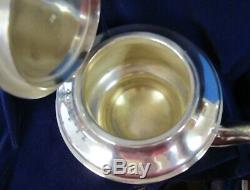 US NAVY Tea Pot Silverplate Fouled Anchor USN Ebony Handle Pre World War II