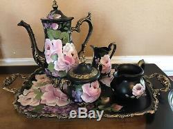Upcycled Painted Silver Tea Set Tray Pot Creamer Sugar Bowl Black Vintage