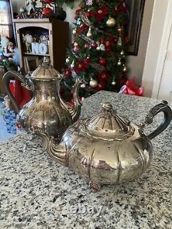 VINTAGE BENEDICT SILVER EP Copper Blk Wood Handle TEA POT COFFEE POT Set Of 2