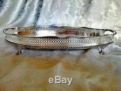 VINTAGE Large Silver Plated Chased Footed Gallery Galleried Oval Drinks Tea Tray
