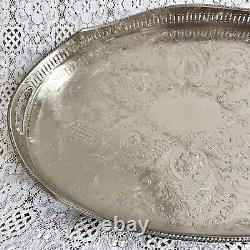 VINTAGE Sheffield Silver Plated Footed Gallery Tea Drinks Serving Butlers Tray