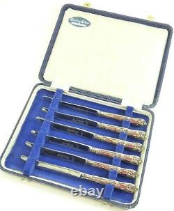 VINTAGE Sterling Silver Harrison Bros Boxed Set of 6 Tea Knives 6 1/2