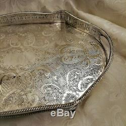 VINTAGE Top Quality Silver Plated Chased Footed Gallery Drinks Tea Serving Tray