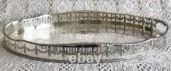 VINTAGE Viners Sheffield Silver Plated Gallery Tea Drinks Serving Butlers Tray