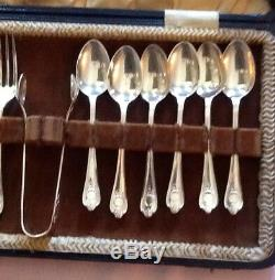 VTG Desert Serving Set Tea spoon, fork, Tong Fiddle handle SHEFFIELD EPNS England