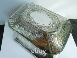 Very Nice Large Victorian Twin Division Silver Plated Tea Caddy