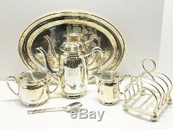 Very Rare Canadian Pacific Railroad Cpr Elkington & Co Silver Plate Tea Set