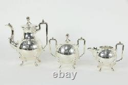 Victorian Antique Small Silverplate 3 Pc Tea or Coffee Set, Reed & Barton #35898