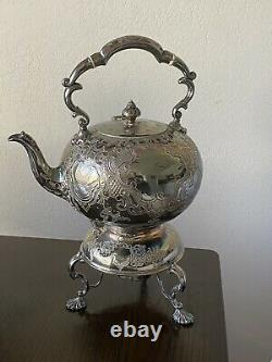 Victorian Antique Spirit Kettle Silver Plate Tea Pot on Tilting Stand with Burner