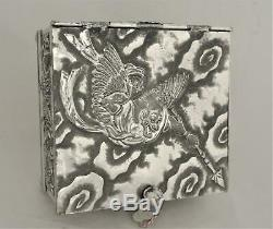 Victorian Derby Embossed Repousse Japanese Revival Locking Tea Caddy Tea Box