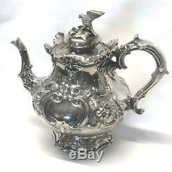 Victorian Ornate Sheffield Silver Plate Tea Set with Bird Finials 4 Piece Set
