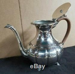 Victorian Plate EPBM Tea Coffee Water Pot Creamer Sugar Bowl Set #316 Silver
