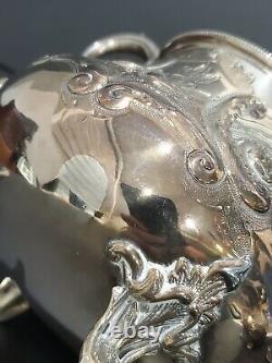 Victorian Sheffield Silverplate 4-Piece Tea Coffee Set with Eagle Finial
