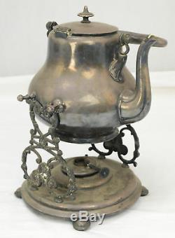 Victorian Style Henniber Silverplate Tilt Tip Tea Coffee Pot Oil Warmer L8Y