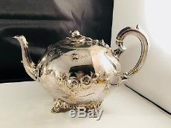 Victorian Tea Service Old Sheffield Silver Plate Ornate Engraving pomegranate 4